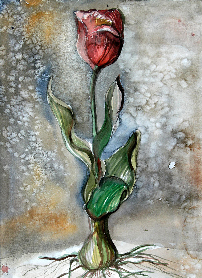 Tulip Painting - Red Tulip by Mindy Newman