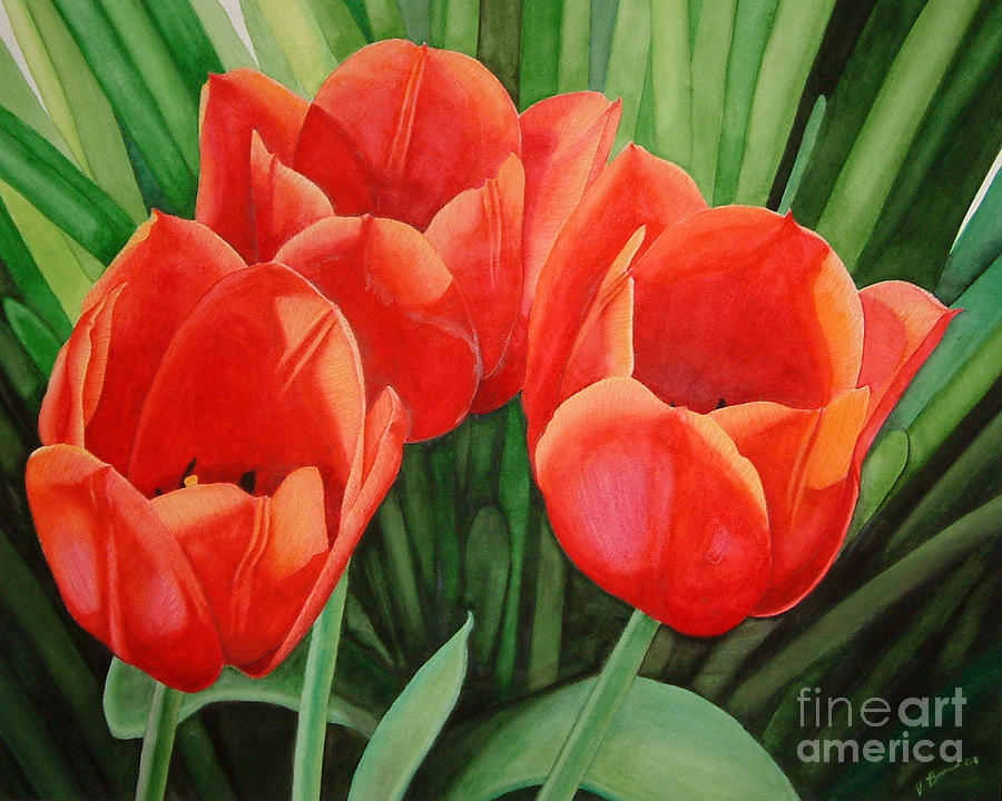 Red Painting - Red Tulip Trio by Vivian Bound