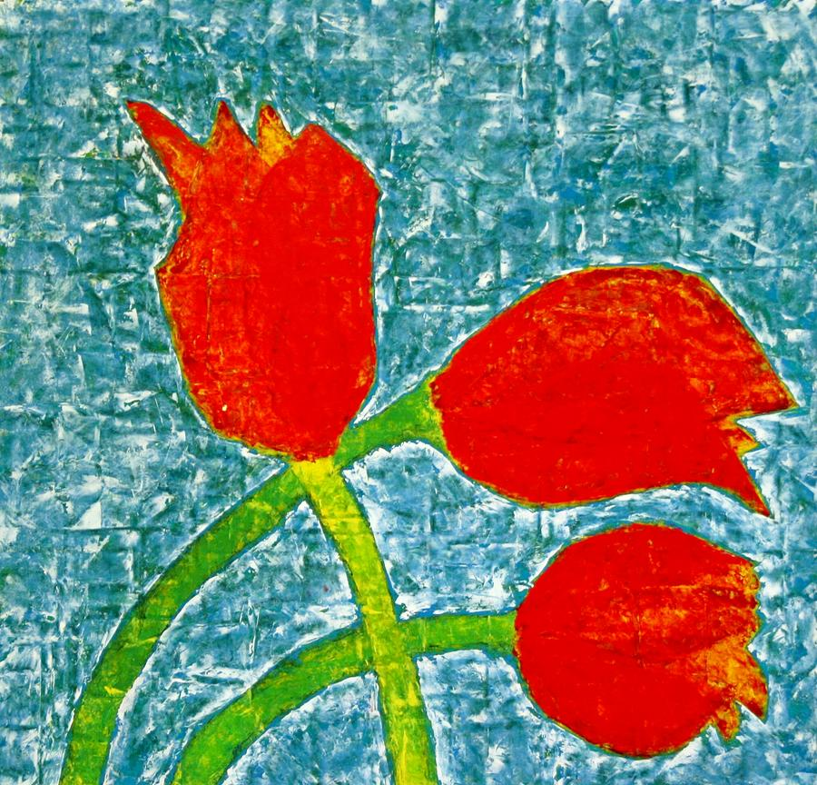 Abstract Artwork Painting - Red Tulips Collage 4 1978 by Jerry Hanks