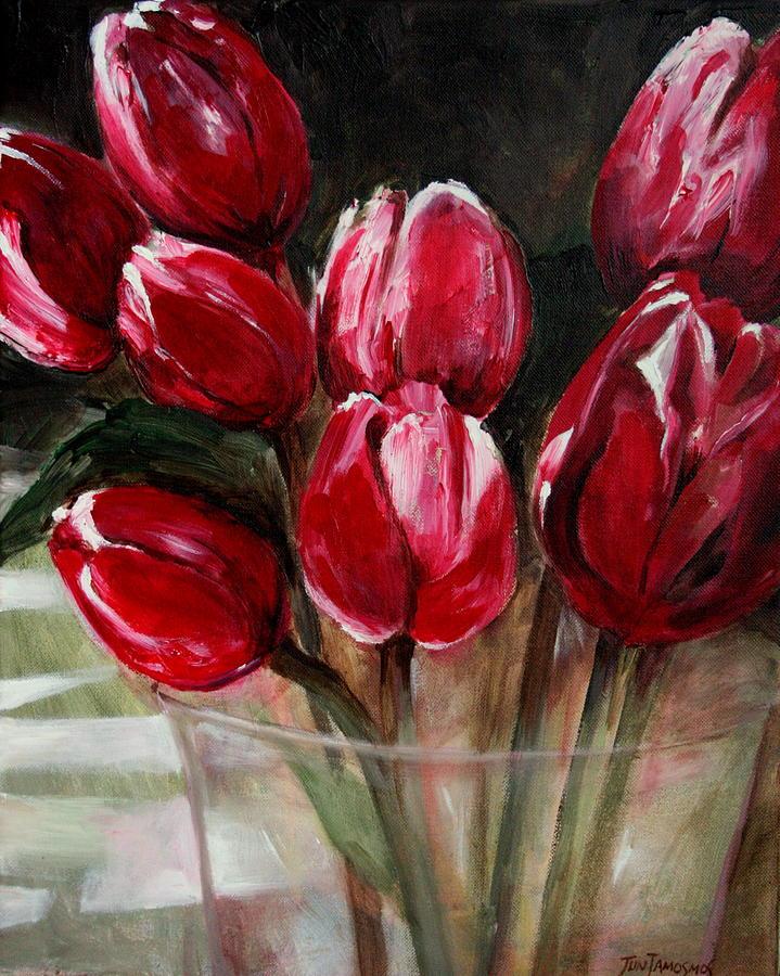 Tulips Painting - Red Tulips by Jun Jamosmos