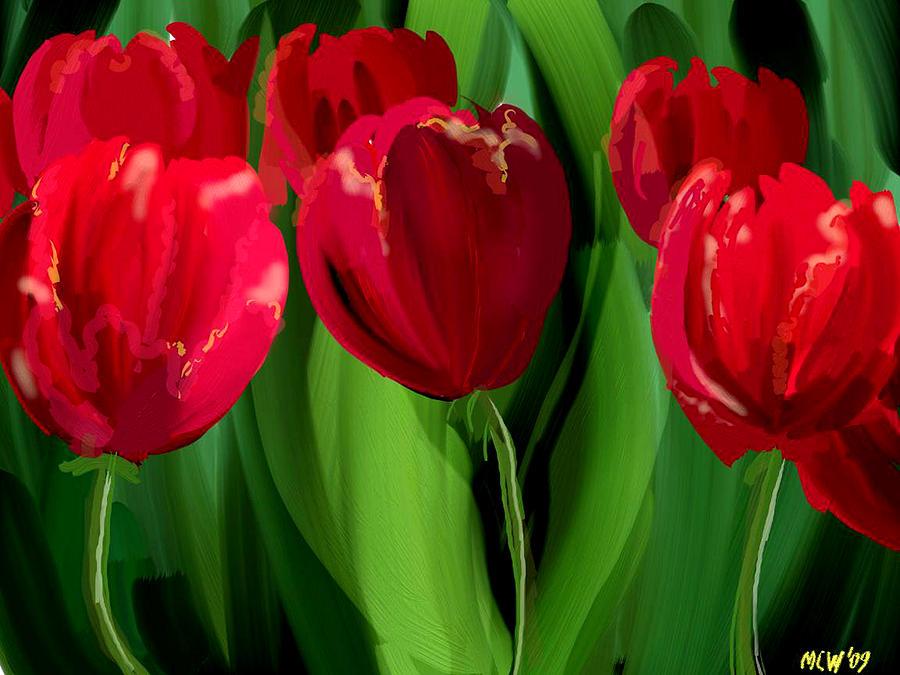 Flower Digital Art - Red Tulips by Margaret Wingstedt