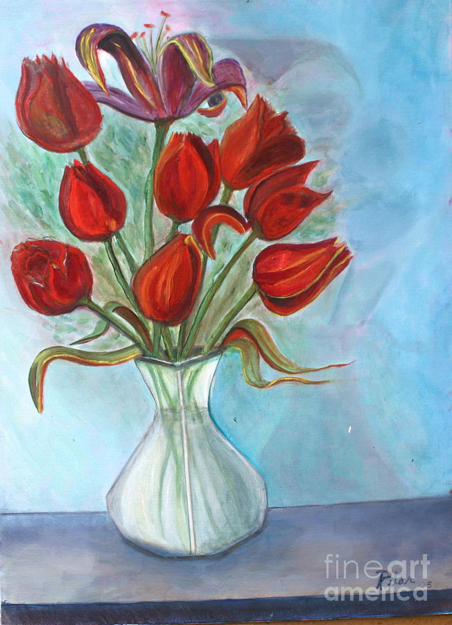 Tulips Painting - Red Tulips by Pilar  Martinez-Byrne