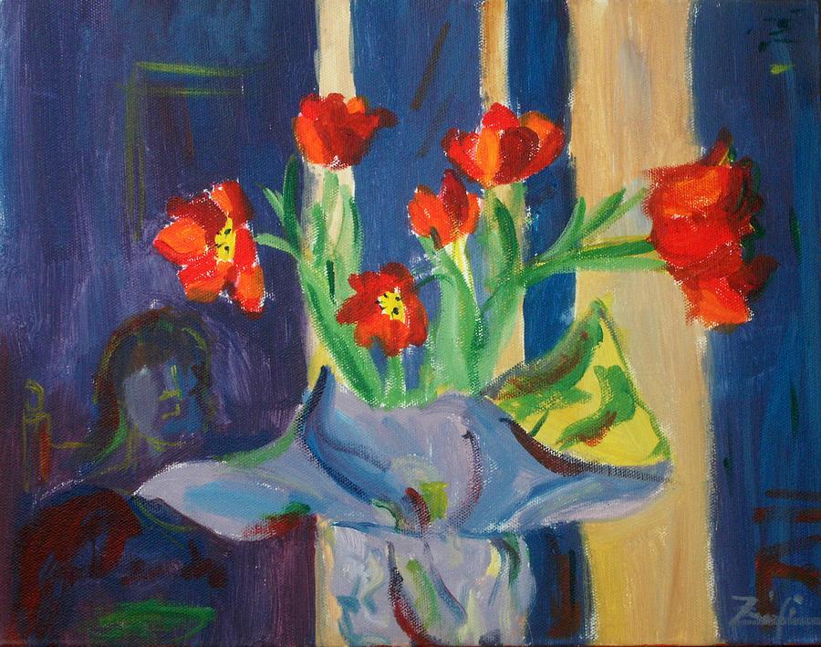 Flowers Painting - Red Tulips by Sofia Polgar