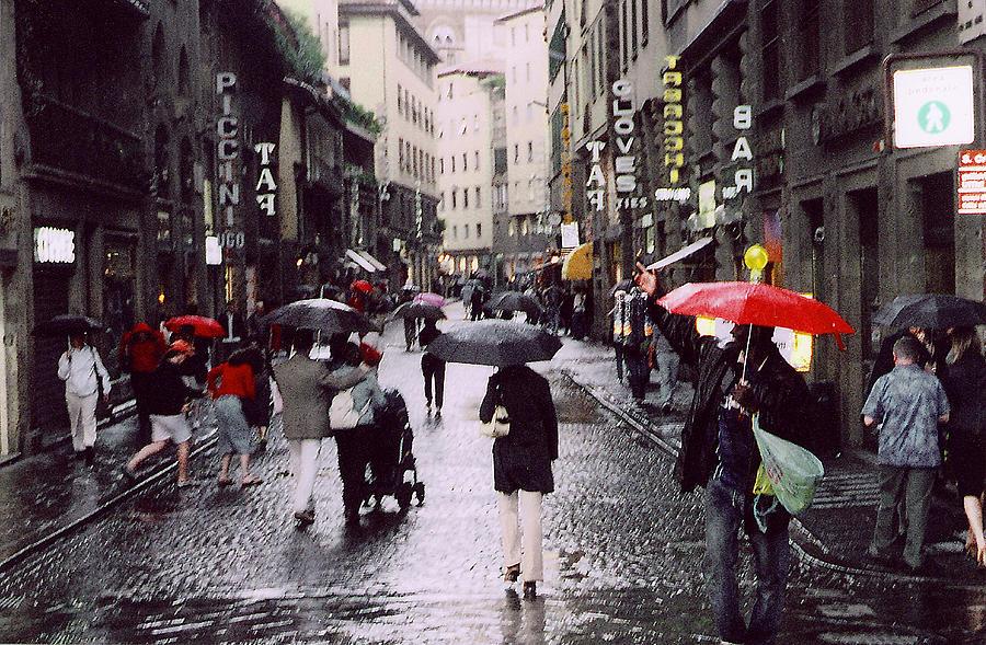 Umbrella Photograph - Red Umbrella In The Rain by Richard Danek