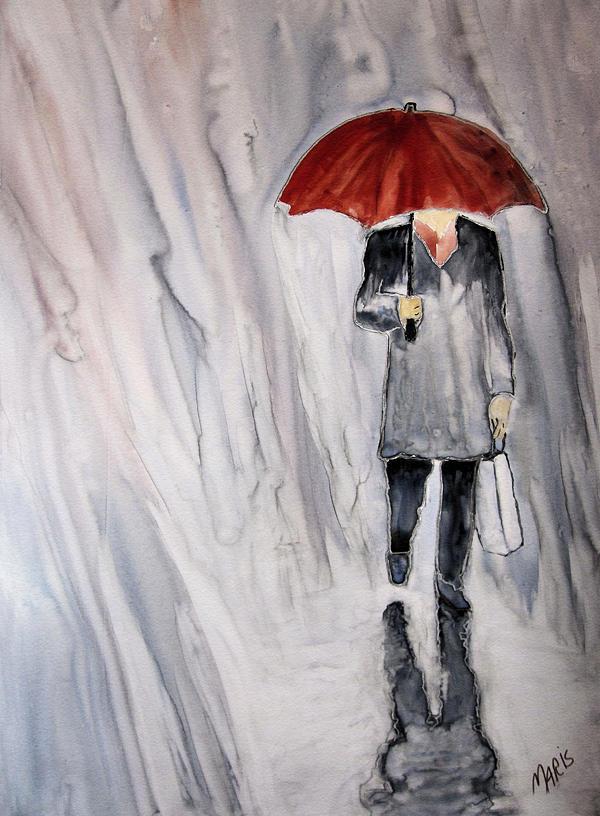 Rain Painting - Red Umbrella by Maris Sherwood