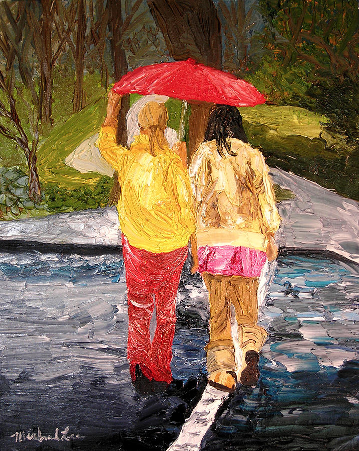 Umbrella Painting - Red Umbrella by Michael Lee