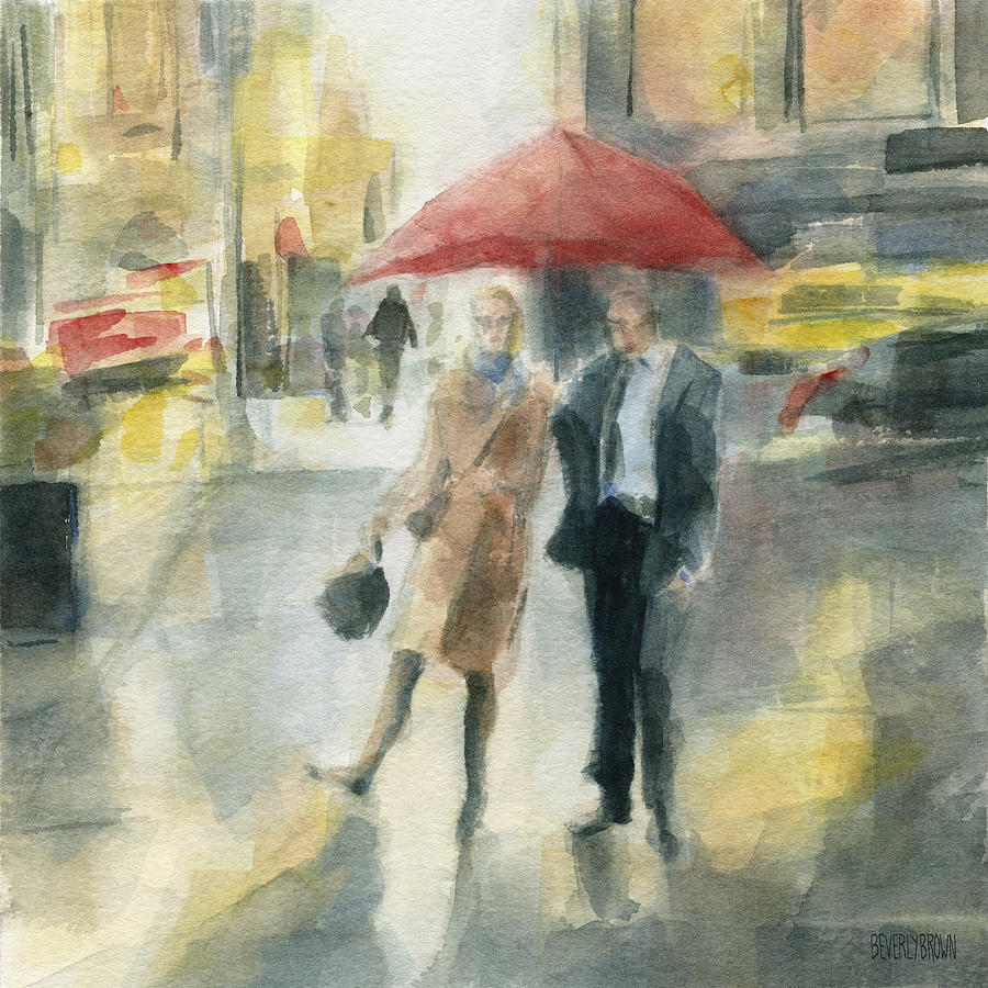 New York Painting - Red Umbrella New York City by Beverly Brown