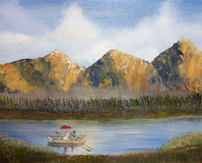 Landscape Painting - Red Umbrella by Tony Rodriguez