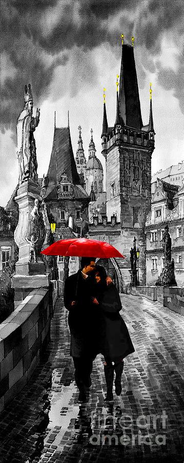 Mix Media Mixed Media - Red Umbrella by Yuriy  Shevchuk