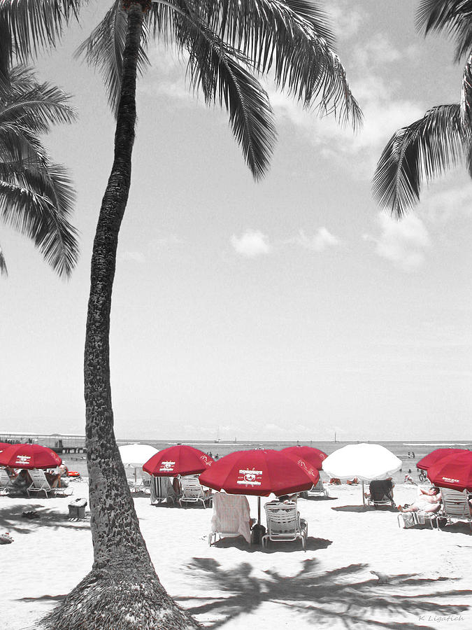Beach Photograph - Red Umbrellas On Waikiki Beach Hawaii by Kerri Ligatich