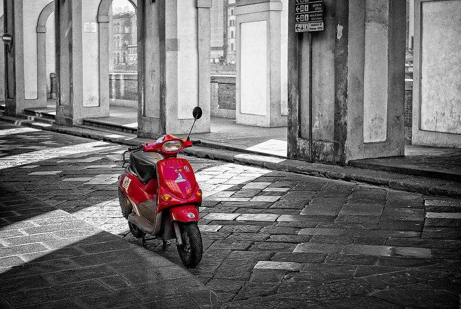 B & W Photograph - Red Vespa by Michael Avory