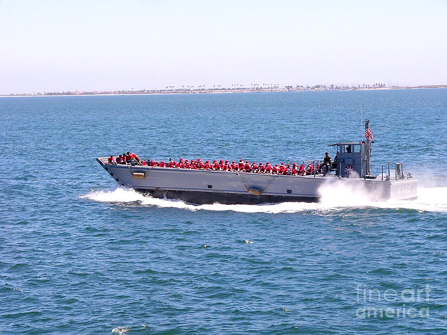 San Diego Bay Photograph - Red Vests Skimming To Work by David Bearden