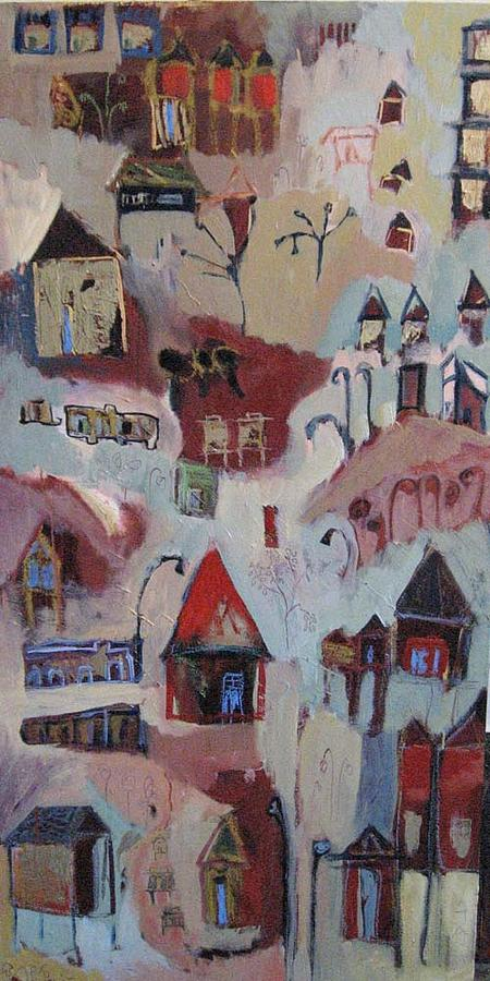 Red Painting - Red Village by Alicia Chatham