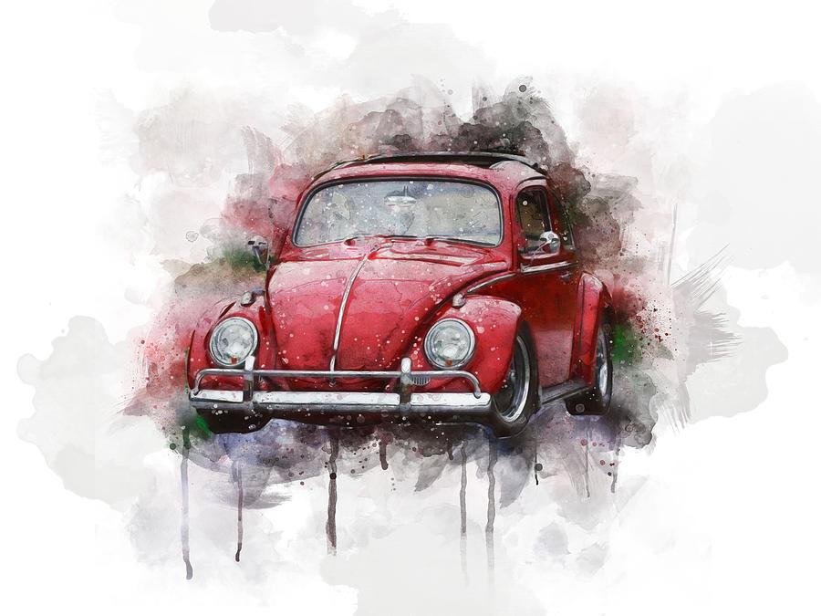 Beetle Digital Art - Red Vw Beetle Watercolor by Aged Pixel