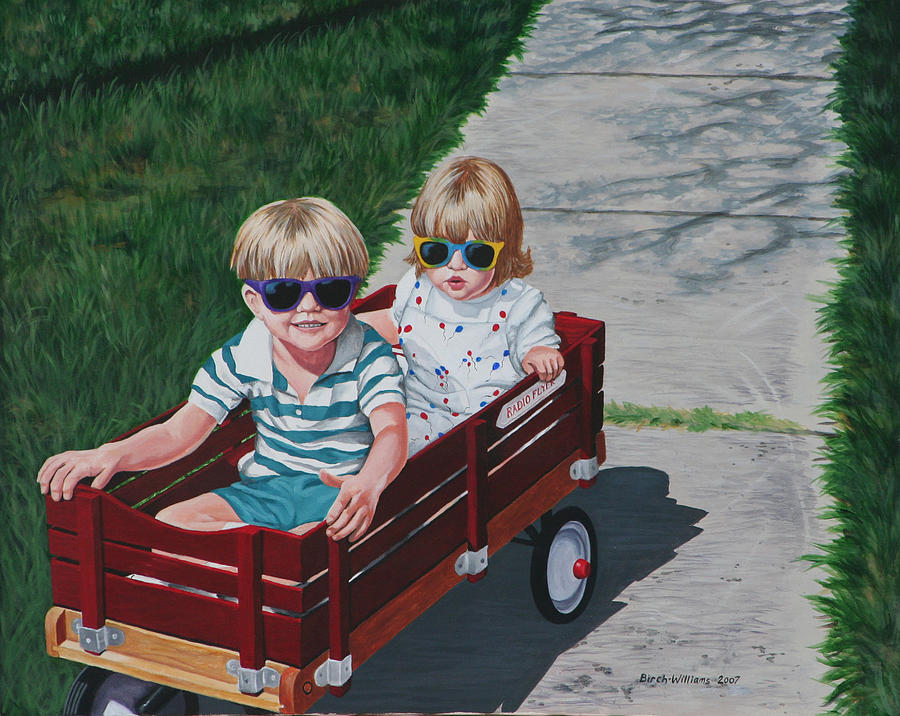 Children Painting - Red Wagon by Penny Birch-Williams