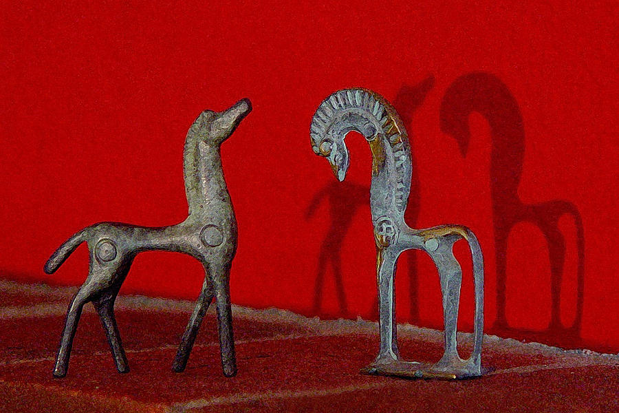 Red Wall Horse Statues by Jana Russon