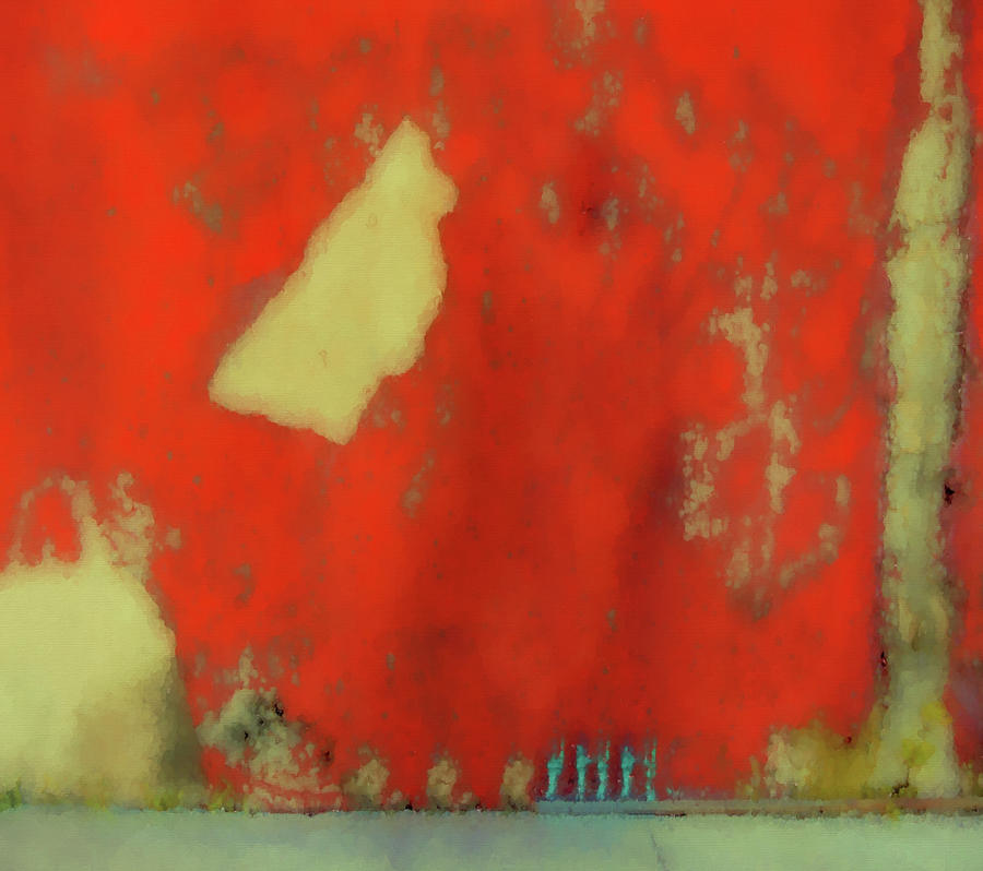 Abstract Digital Art - Red Wall With Boot  by Kandy Hurley