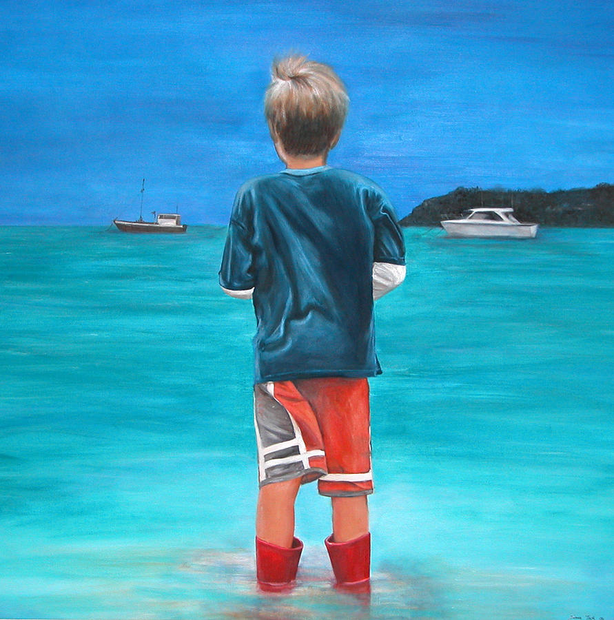 Beach Painting - Red Wellies by Fiona Jack