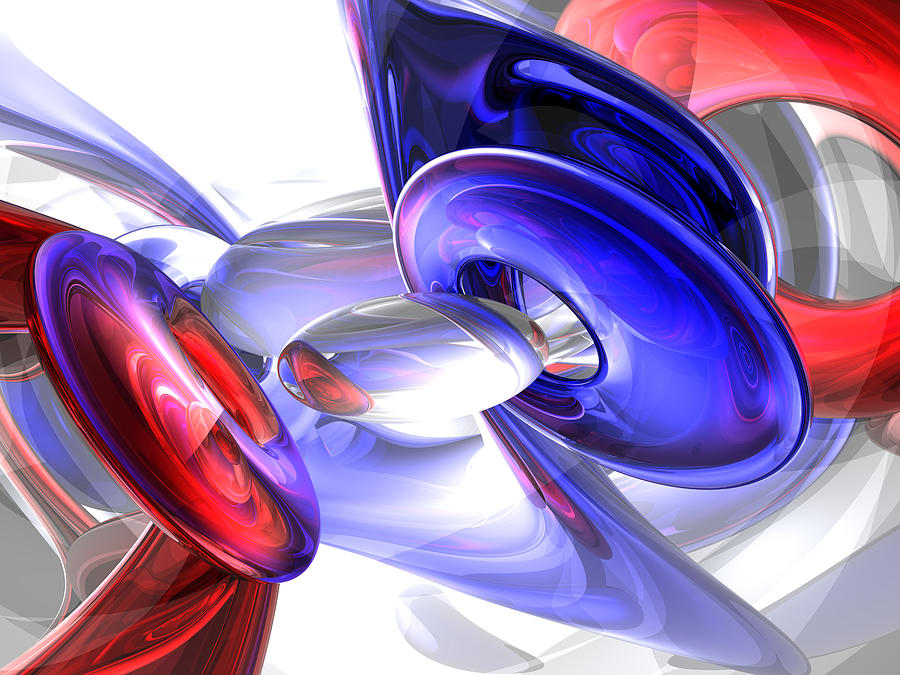 3d Digital Art - Red White And Blue Abstract by Alexander Butler