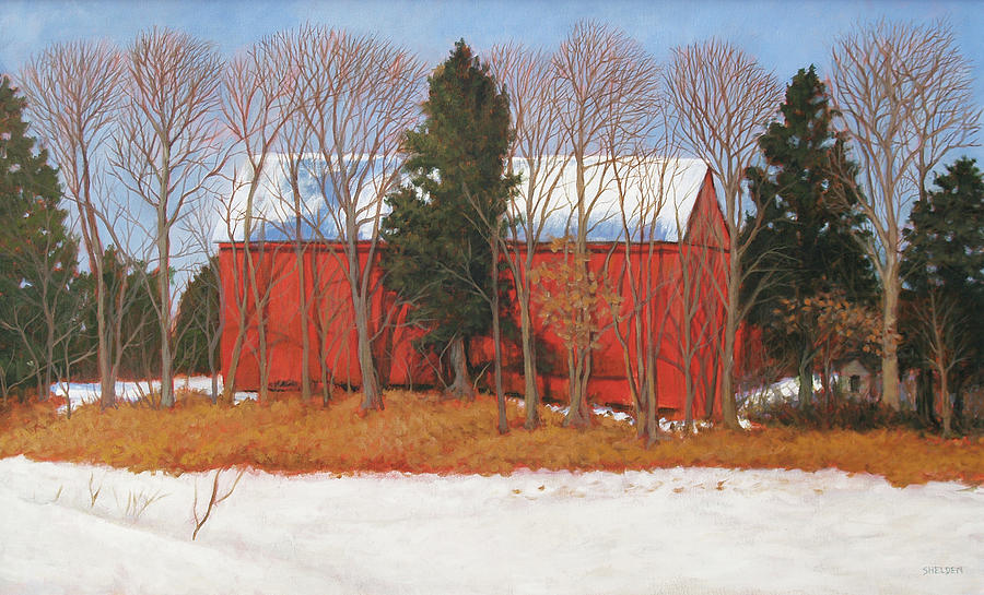 Rural Painting - Red White And Blue Barn by Suzanne Shelden