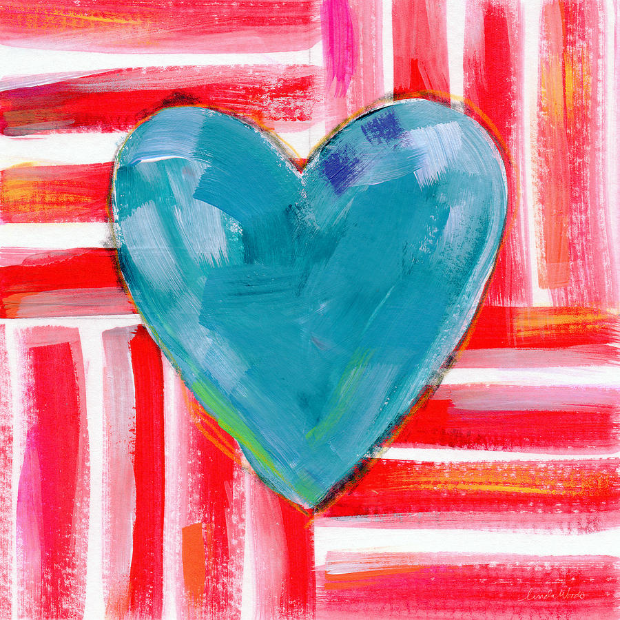 Heart Painting - Red White and Blue Love- Art by Linda Woods by Linda Woods