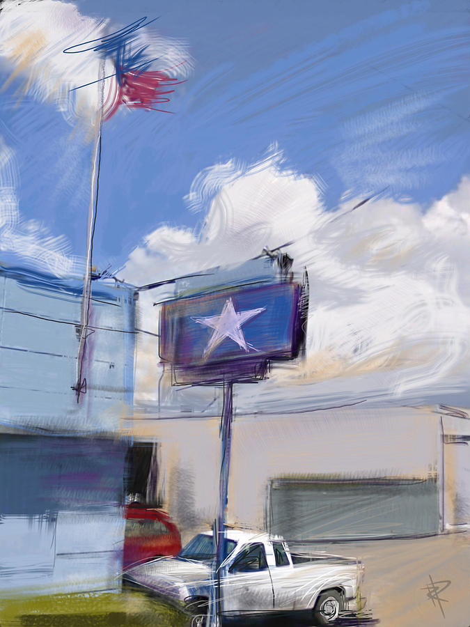 Industrial Building Mixed Media - Red White And Blue by Russell Pierce