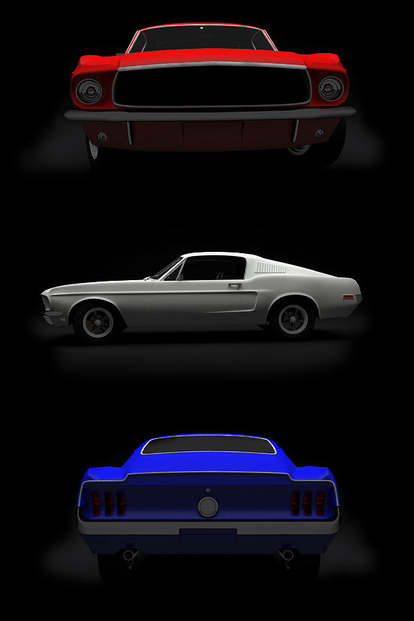 Blue Digital Art - Red White Blue Mustang 2 by Brainwave Pictures