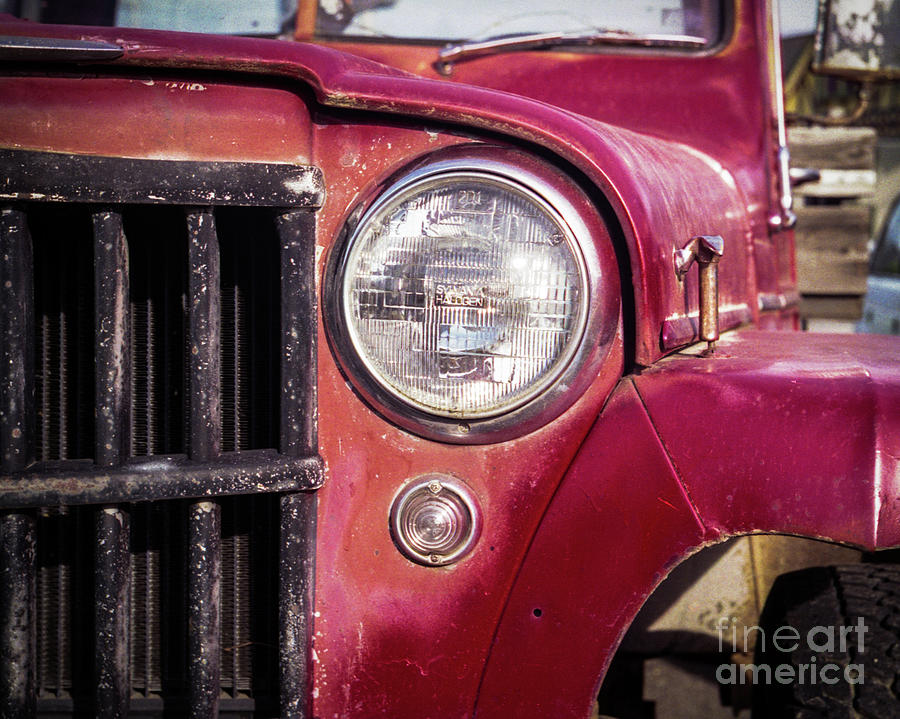 Jeep Photograph - Red Willys Jeep Truck by Norman Dean