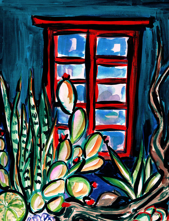 Succulents Painting - Red Window by Kat Templeton