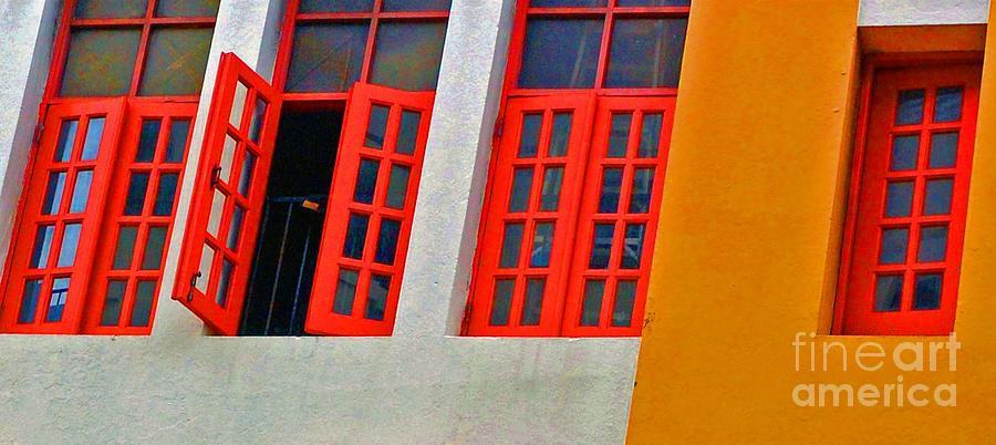 Windows Photograph - Red Windows by Debbi Granruth