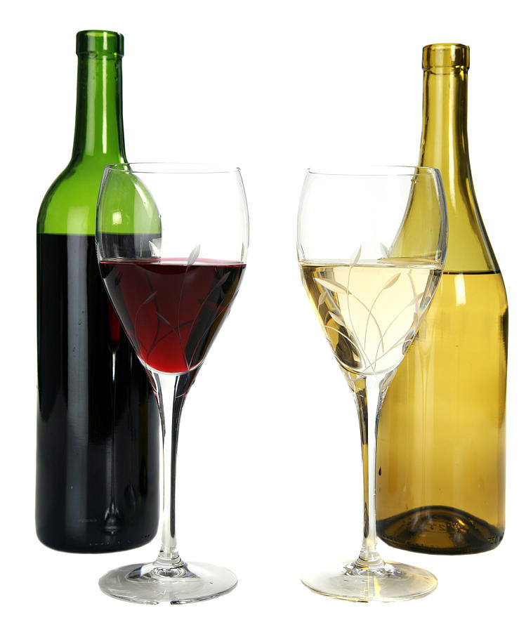 Alcohol Photograph - Red Wine And White Wine In Cut Crystal Wine Glasses  by Michael Ledray