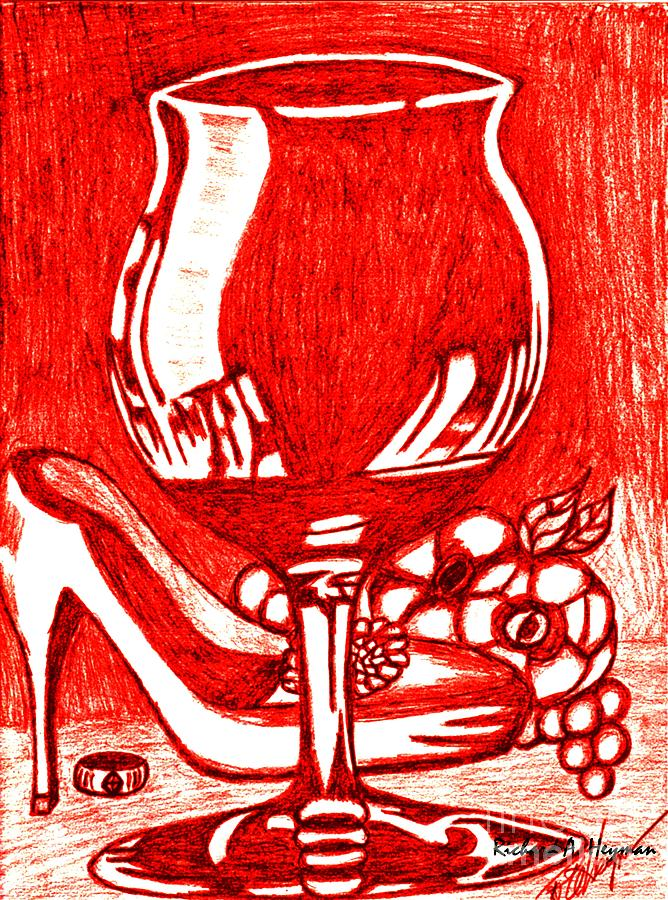 Abstract Drawing - Red Wine by Richard Heyman