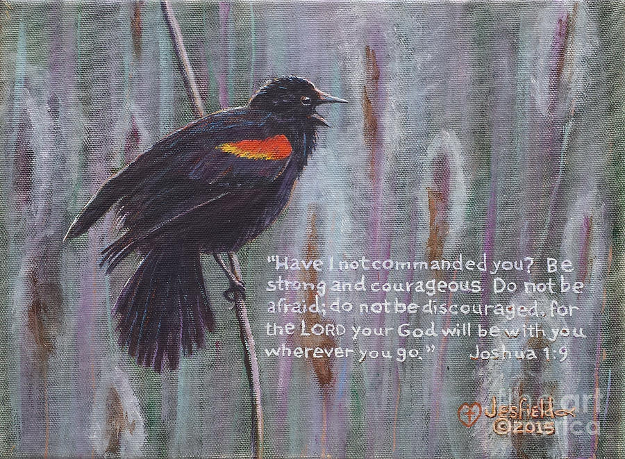 Bird Painting - Red Wing Blackbird by LeRoy Jesfield