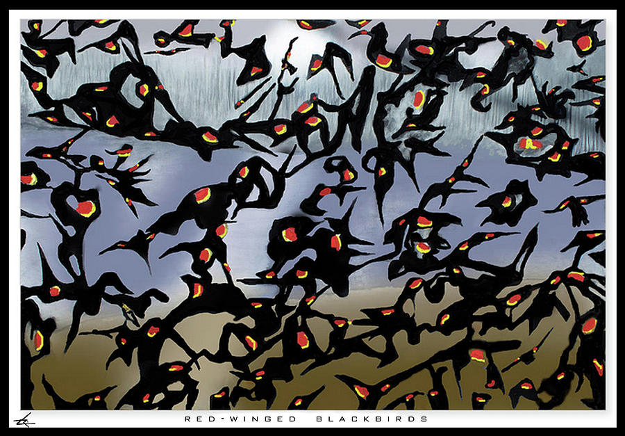 Red-Winged Blackbirds by Larry Rice