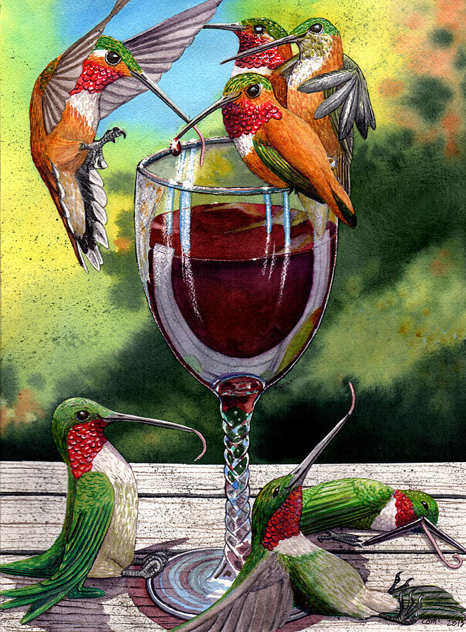 Hummingbird Painting - Red Winos by Catherine G McElroy