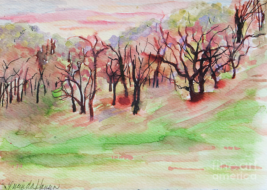 Notecards Painting - Red Woods by Lucinda  Hansen