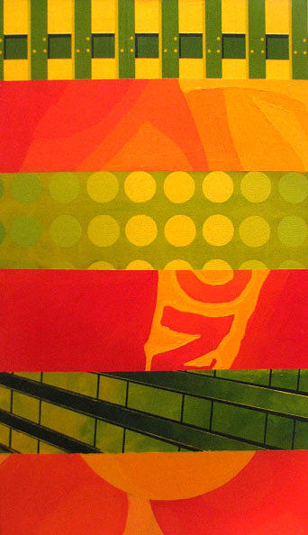 Red Yellow And Green One Of Three Painting by Kamila Kwiatkowska