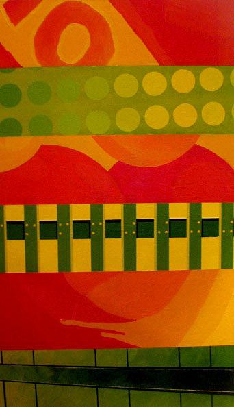Red Yellow And Green Three Of Three Painting by Kamila Kwiatkowska