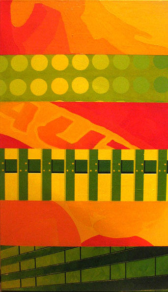 Red Yellow And Green Two Of Three Painting by Kamila Kwiatkowska