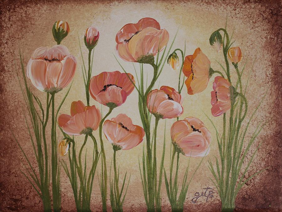 Red Poppies Painting Painting - Red Yelow Poppies by Georgeta  Blanaru