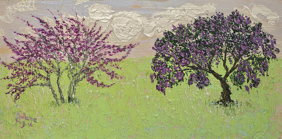 Redbud and Laurel Irridescent  by Julene Franki
