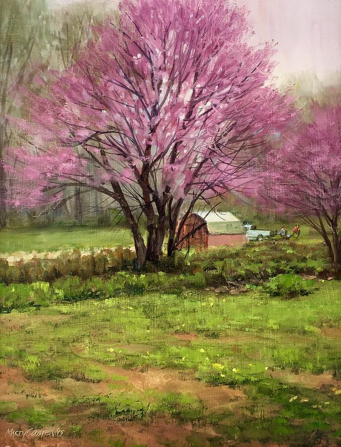 Landscape Painting - Redbud by Marty Coulter