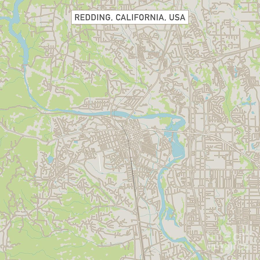 Redding California Us City Street Map Digital Art by Frank Ramspott