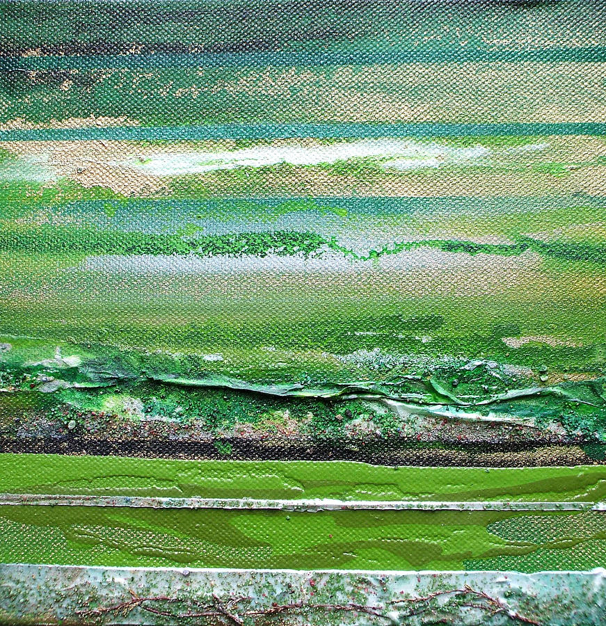 Redesdale Rhythms And Textures Series 3 Green And Gold Mixed Media by Mike   Bell