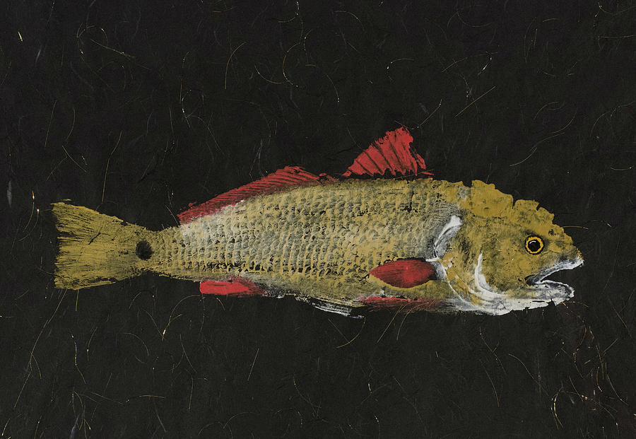 Gyotaku Painting - Redfish by Captain Warren Sellers