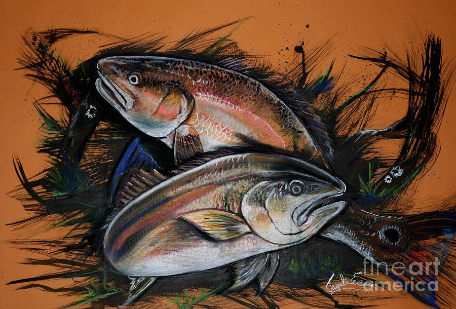 Redfish Mixed Media - Redfish Frenzy by Jacqueline Endlich