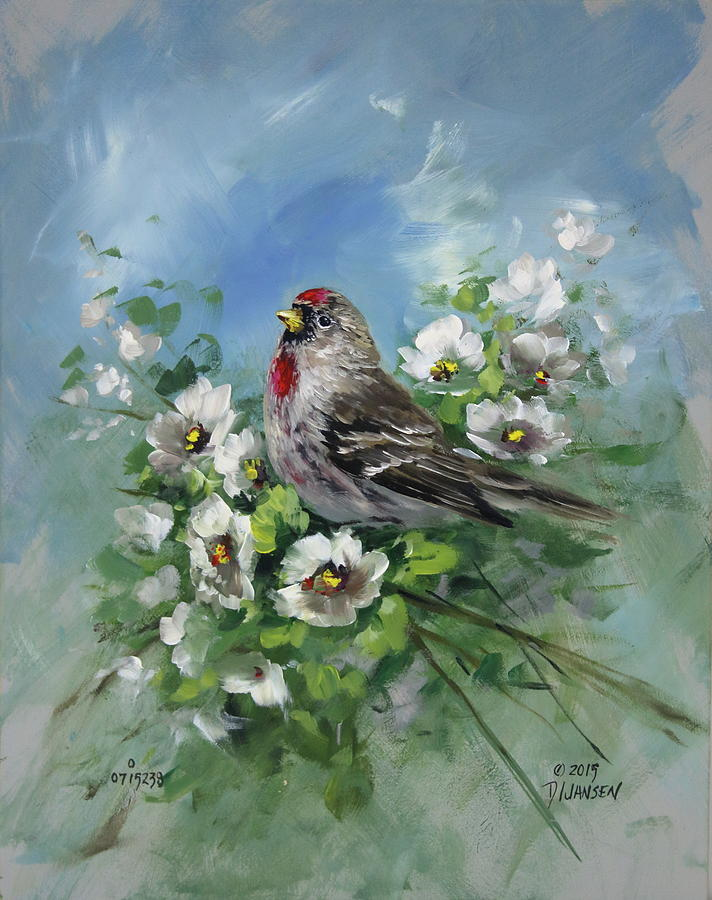 Birds Painting - Redpole And Blossoms by David Jansen