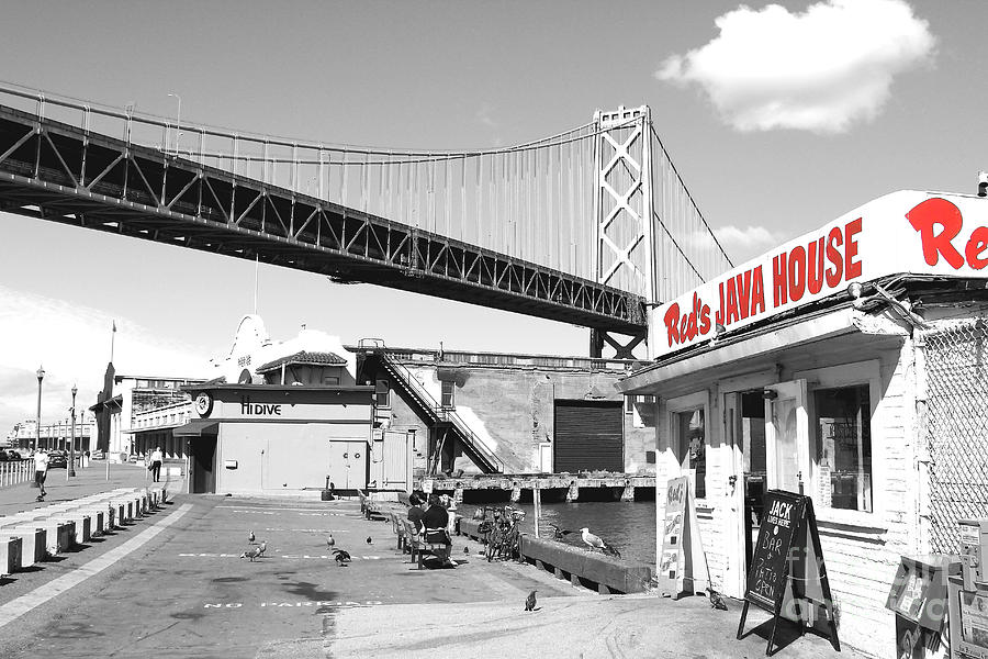 Reds Java House and The Bay Bridge in San Francisco Embarcadero  by San Francisco Art and Photography