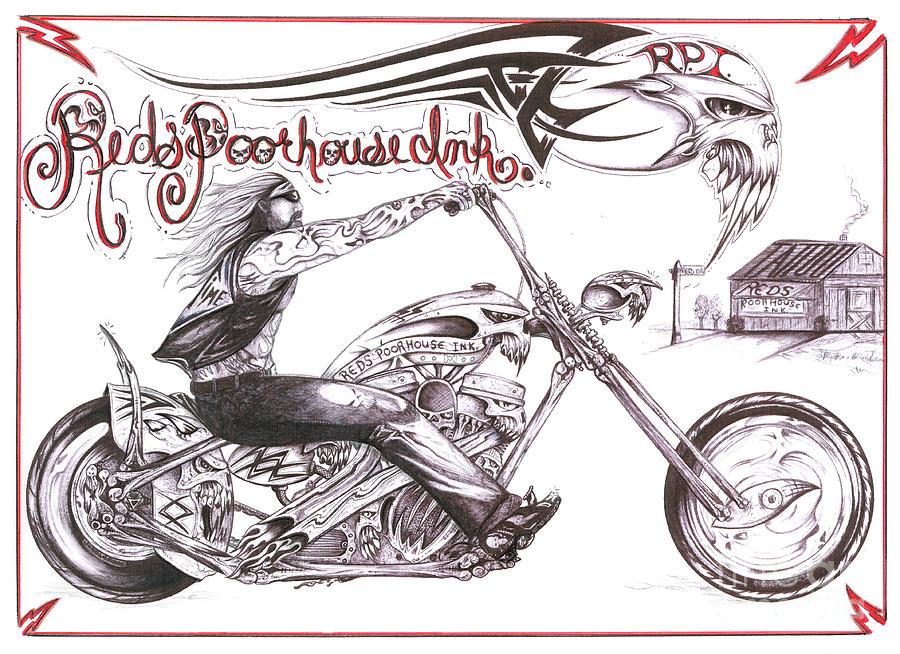 Motorcycle Drawing Drawing - Reds Poor House 2 by Derek Hayes