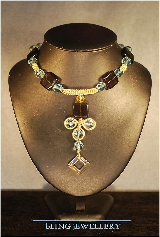 Wire Wrapped Jewelry - Reduced - Square Smokey Quartz And Aqua Glass Crystal Necklace by Janine Antulov